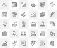 Vector line set of icons for finance and investment. Royalty Free Stock Photo