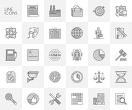 Vector line set of icons for safety, planning and team. Royalty Free Stock Photography