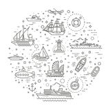 Vector line set of ships and boats. Ships - set of modern vector plain line design icons and pictograms Stock Image