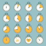 Vector line set of timers Royalty Free Stock Photo