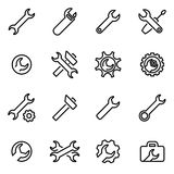 Vector line settings wrench icon set Royalty Free Stock Photos