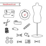 Vector line sewing icon set. Outlined needlework vector icon set Royalty Free Stock Photos