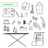 Vector line sewing icon set. Outlined needlework vector icon set Stock Image
