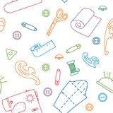 Vector line sewing seamless pattern. Outlined needlework vector illustration Stock Image