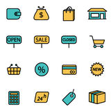 Vector line shop set Royalty Free Stock Images