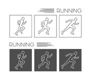 Vector line silhouettes of runners Stock Image