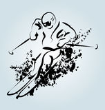 Vector Line sketch skier Stock Photo