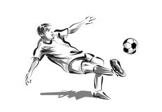 Vector line sketch soccer Stock Photography