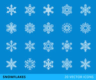 20 vector line snowflakes. Set of 20 vector line snowflakes,  on a blue background - stock vector Stock Image