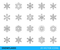 20 vector line snowflakes. Set of 20 vector line snowflakes,  on a white background - stock vector Stock Photo
