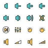 Vector line speaker icon set Stock Photography