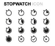 Vector line stopwatch icons set Stock Photo