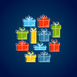 Vector line style illustration with gift boxes. Stock Photos