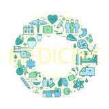 Vector line style illustration with on a theme medicine and Health symbols. Stock Photography