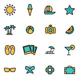 Vector line summer set Royalty Free Stock Photography