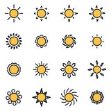 Vector line sun icon set Royalty Free Stock Images