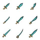 Vector line sword icon set Royalty Free Stock Photos