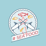 Vector line swordfish perch seafood badge Stock Photography