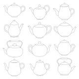Vector line tea pots signs. Stock Photos