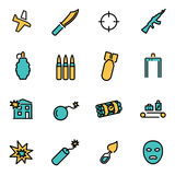 Vector line terrorism set. Trendy flat line icon pack for designers and developers. Vector line terrorism set Stock Photos