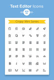 Vector line text document editing application tiny icon set. Minimalistic crisp contour icons stock illustration