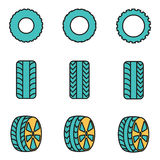 Vector line tire icon set Royalty Free Stock Photography