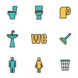 Vector line toilet icon set Royalty Free Stock Photos