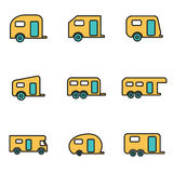 Vector line trailer icon set Royalty Free Stock Photo