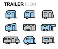 Vector line trailer icons set Royalty Free Stock Image