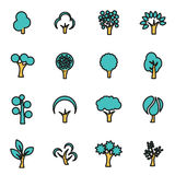 Vector line trees icon set Stock Photo
