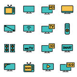 Vector line tv icon set Royalty Free Stock Images
