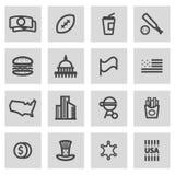 Vector line usa icons set Royalty Free Stock Photos