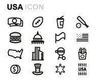 Vector line usa icons set Royalty Free Stock Photography