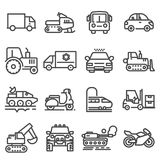 Vector line vehicles icons set. On white background Royalty Free Stock Photos