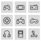Vector line video game icons set Stock Photos