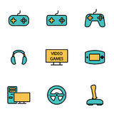 Vector line video games icon set Stock Images