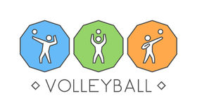 Vector line volleyball logo and icons. Silhouettes of figures vo Royalty Free Stock Photo