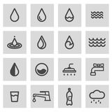Vector line water icons set. On grey background Royalty Free Stock Photo