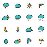 Vector line weather set Royalty Free Stock Photos