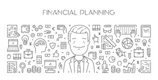 Vector line web banner of financial planning. Modern linear concept Royalty Free Stock Images