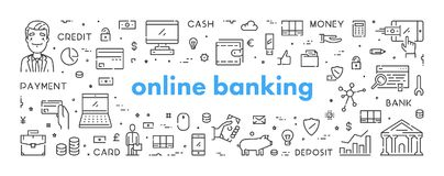 Vector line web banner for online banking. Modern linear concept for internet ban Stock Photos