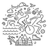 Vector line web banner for triathlon Stock Images