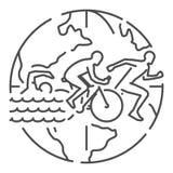 Vector line web banner for triathlon Stock Photo