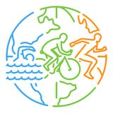 Vector line web banner for triathlon Royalty Free Stock Images