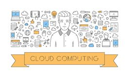 Vector line web concept of cloud computing. Modern linear banner Stock Photography