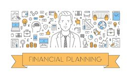 Vector line web concept of financial planning. Modern linear banner Royalty Free Stock Image