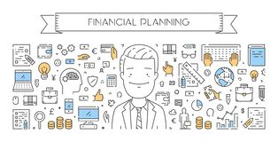 Vector line web concept of financial planning. Modern linear banner Royalty Free Stock Photos