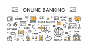 Vector line web concept for online banking. Modern linear banner for internet banking Royalty Free Stock Photography