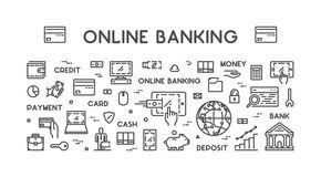 Vector line web concept for online banking. Modern linear banner for internet banking Stock Image