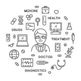 Vector line web concept online doctor Royalty Free Stock Photo